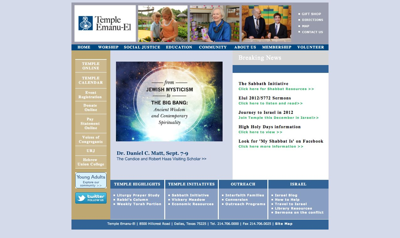 Temple Website Before